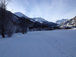 The piste - long, straight and flat. This one has been recently pisted - you can see the corduroy pattern of the comb.