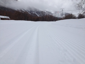 Close-up of the piste corduroy